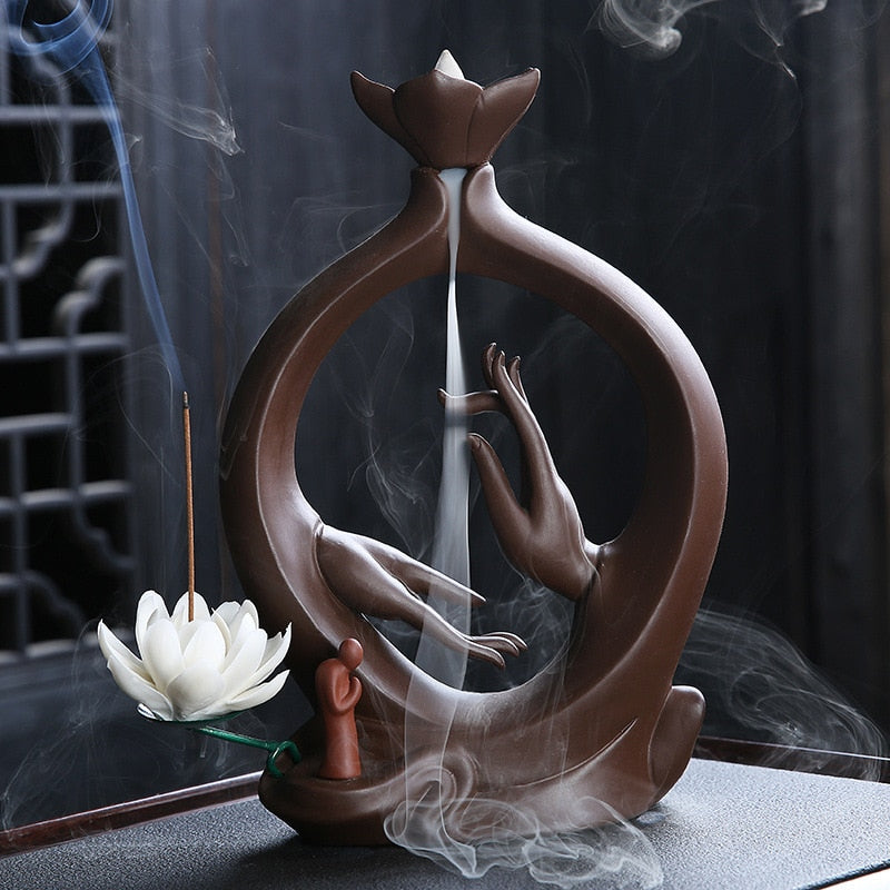 Worship Hands Backflow Incense Burner and Lotus Incense Stick Holder