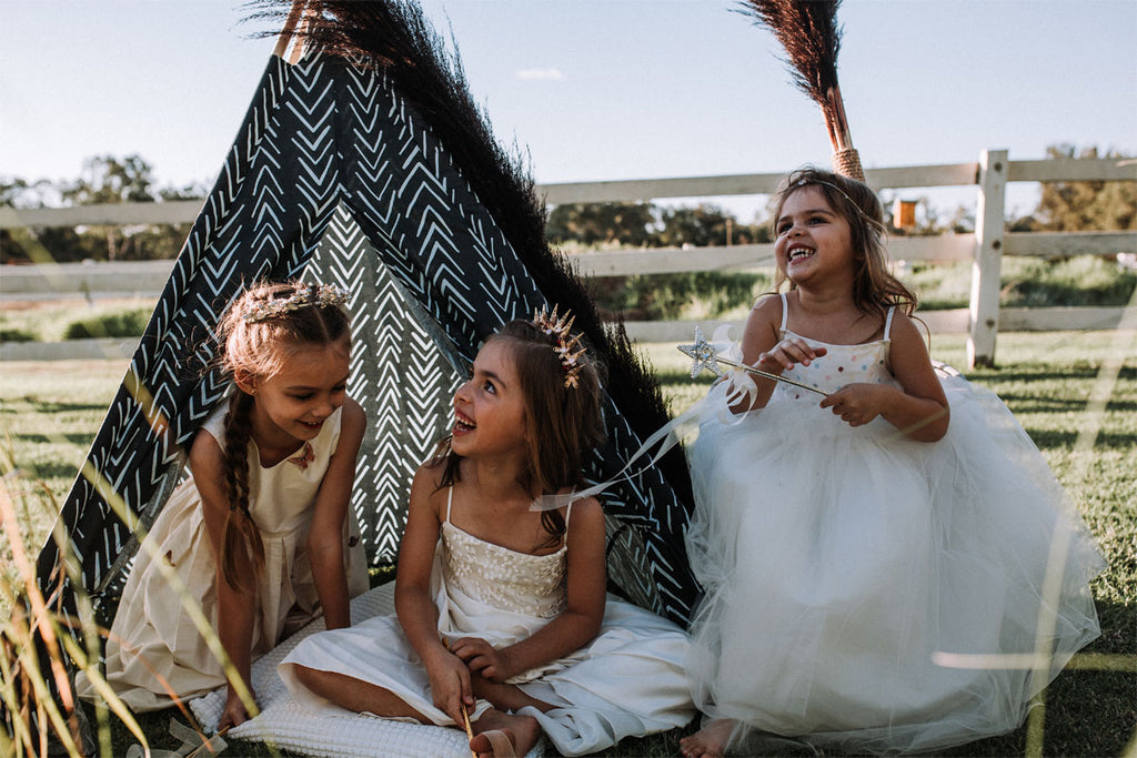 Flowergirl dresses by Samantha Wynne, Mount Hawthorn and crowns by Kezani Jewellery