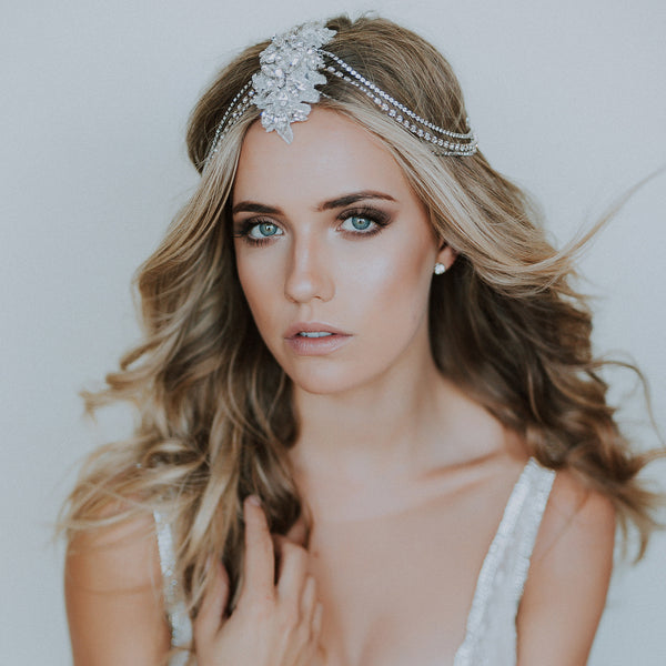 Venine Palm wearing our Allegra headpiece