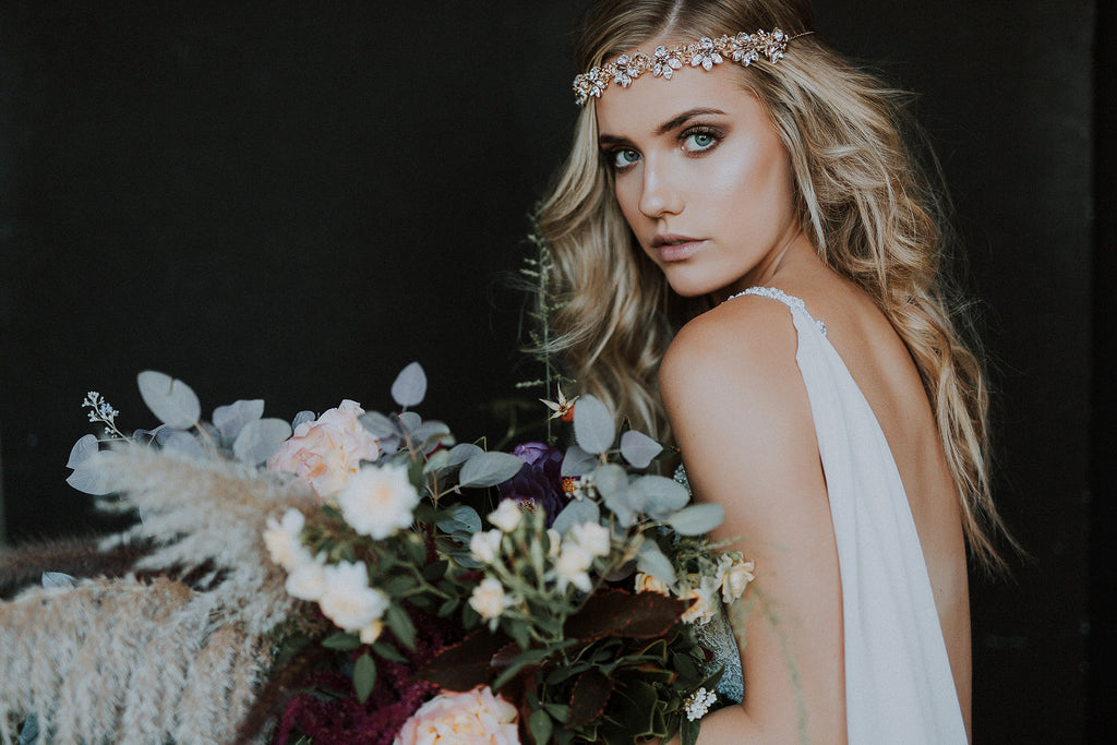 Stunning wedding bouquet by Perth Florist, Rose and Bud - featuring the Tiivel headjewellery by Kezani Jewellery and gown by Galia Lahav
