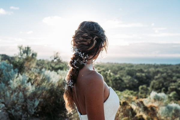 messy wedding plait and Wild Ivy crystal hairvine