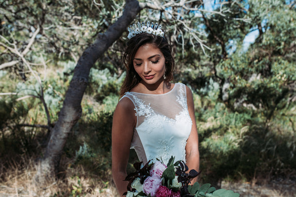 The Venine flower crown featured with Samantha Wynne wedding gown