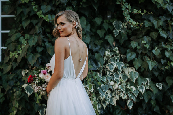 rose gold back jewellery with wedding dress from collezione perth