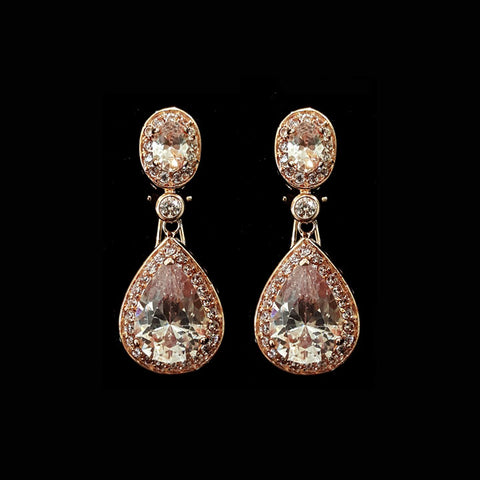 wedding earrings - rose gold - bond st by Stephanie Browne