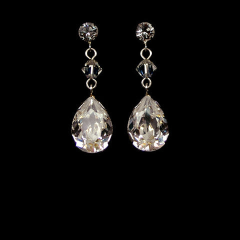 Bridal earrings - crystal with pear crystal drop - Vienna by Kezani - Kezani Jewellery - 1