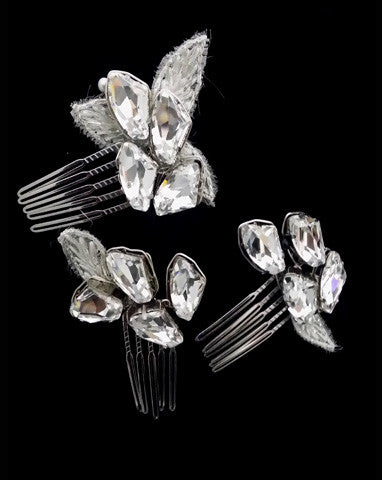 Bridal headpiece - dazzling crystal combs - Makara by Kezani - Kezani Jewellery - 2