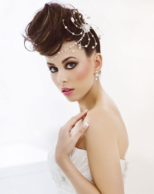 bridal headpiece pearl and crystal band with funky side feature kezani jewellery designer. Black Bedroom Furniture Sets. Home Design Ideas