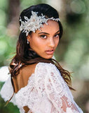 Bridal headpiece - pearl and crystal band with lace boho style - Brodie by Kezani - Kezani Jewellery - 2