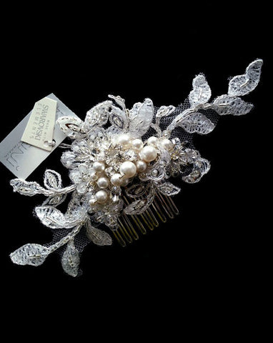 Bridal headpiece - soft romantic lace comb - Chantal by Kezani - Kezani Jewellery - 1