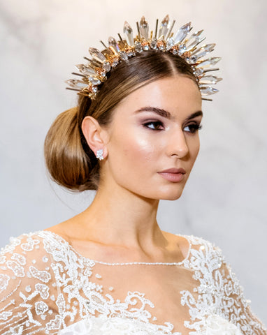 bridal headpiece - Showstopper crystal spike crown with rose gold and gold - Courtney by Kezani