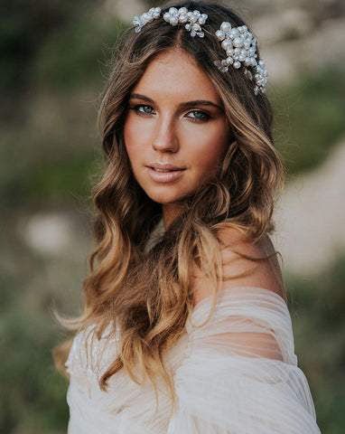 bridal headpiece - dramatic pearl clustered floral vine band - Milan by Kezani