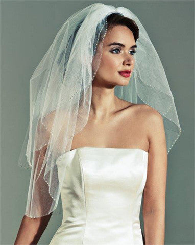 Veil - two tier wedding veil with ab crystal edge - Tuscany - Kezani Jewellery
