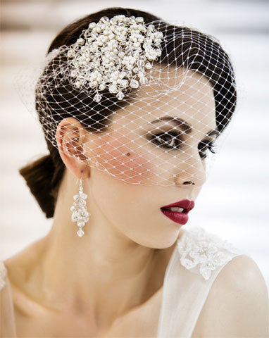 Wedding veil - birdcage veil with small beaded combs - Jasmine - Kezani Jewellery - 1