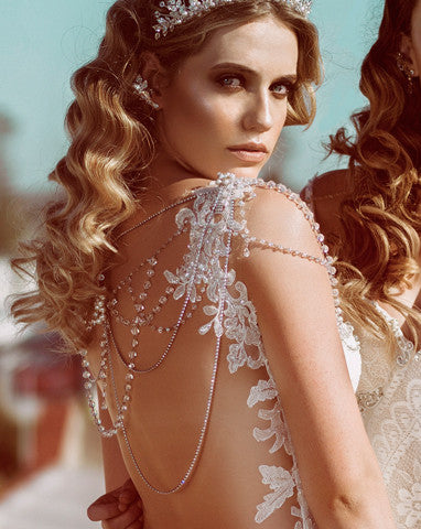 wedding back jewellery - crystal and diamonte drapes with one shoulder feature - Isabella by Kezani
