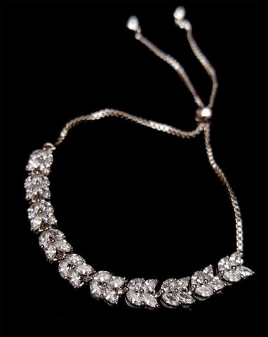 NEW ARRIVAL - Bridal and wedding bracelet - Marquise crystal adjustable - Exclusive at Kezani