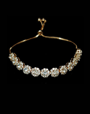 NEW ARRIVAL - Bridal and wedding bracelet - Nina halo round crystal adjustable - Exclusive at Kezani