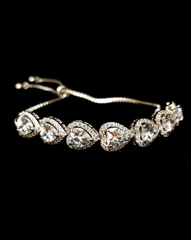 Bridal and wedding bracelet - adjustable Heart crystal with halo - LOVE bracelet - Exclusive at Kezani