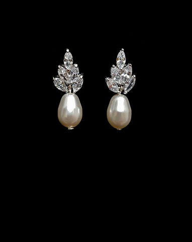 Bridal earrings- Bocheron Drop Pearl by Stephanie Browne