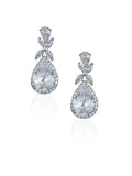 bridal and wedding earrings - luxurious halo pear crystal drop in rhodium plate kezani