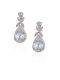 bridal and wedding earrings - luxurious halo pear crystal drop in rose gold plate kezani