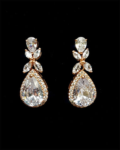 bridal and wedding earrings - luxurious halo pear crystal drop at kezani-rose-gold