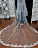 Bridal and wedding Veil  - two tier raw cut in soft ivory tulle with chantilly lace edge on train only - back view - at Kezani
