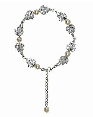 Bridal bracelet- Bocheron pearl and crystal leaf bracelet by Stephanie Browne - KEZANI JEWELLERY - designer bridal jewellery and wedding accessories - 1