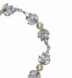 Bridal bracelet- Bocheron pearl and crystal leaf bracelet by Stephanie Browne - KEZANI JEWELLERY - designer bridal jewellery and wedding accessories - 2