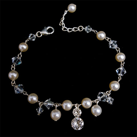 bridal bracelet - Harlow pearl with droplets by Kezani