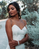 bridal bracelet - Jessica dainty floral ribbon cuff - on model - by Kezani