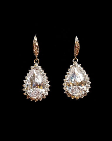 NEW ARRIVAL - Pear crystal drop with crystal detail - Dianna at Kezani