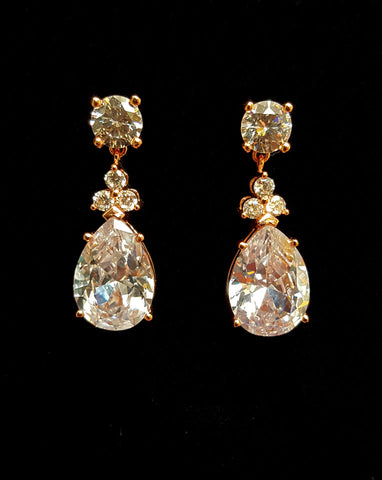 bridal earring - velvet by stephanie browne - rose gold plate
