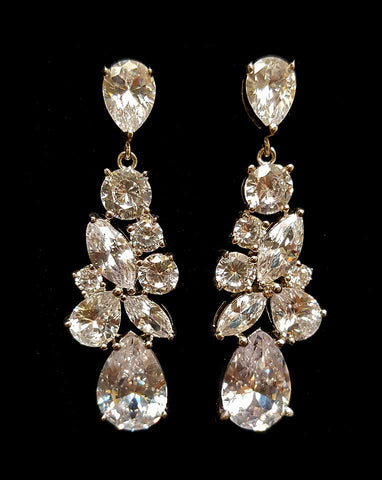 Bridal earrings -Regalia Madame with pear crystal drop by Stephanie Browne