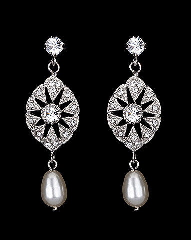 Bridal earrings - Charleston pearl by Stephanie Browne - Kezani Jewellery - 1