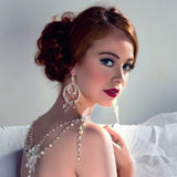 Bridal earrings - pearl and crystal gypsy style - Gracie by Kezani - Kezani Jewellery - 2