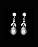 bridal earrings - drop pearl earring with vintage leaf - Silk pearl earring by Stephanie Browne 2