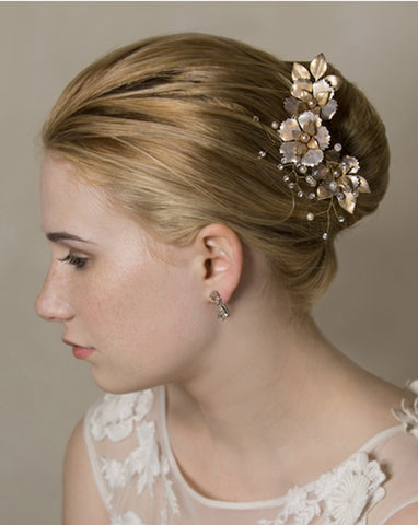 bridal hairpins - Fiorentina matt gold pins by Stephanie Browne