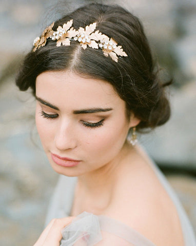 wedding headband - Golden Ivy on Alice by Stephanie Browne -matt gold - Kezani Jewellery - 1