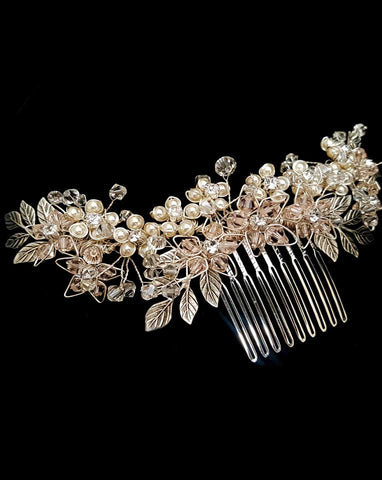Bridal headpiece - floral and leaf back comb - Jessica by Kezani