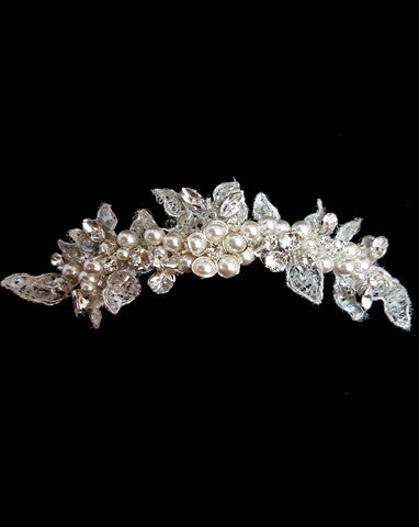 bridal headpiece - candiece small centred pearl flower comb - veil cover - by Kezani