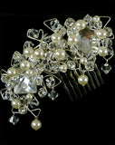 Bridal headpiece - crystal and pearl side comb - Jadore double by Kezani - Kezani Jewellery