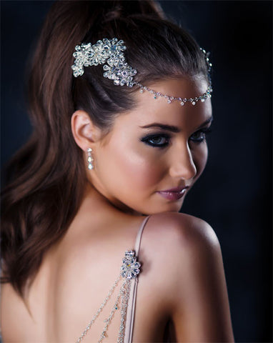 Bridal headpiece - divine crystal headjewellery - Khloe by Kezani - Kezani Jewellery - 1