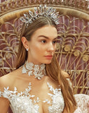 bridal headpiece - spike halo crown with flower detailing - The Met-acular by Kezani