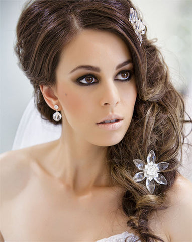 Bridal headpiece - crystal star flower haircomb - Charlotte by Kezani - Kezani Jewellery - 1