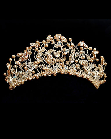 bridal headpiece - delicate crystal and pearl vine-branch crown in blush - Positano crown by Kezani - close up 1