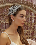 bridal headpiece - dramatic crystal side piece - Julietta by Johnny B Collection at Kezani