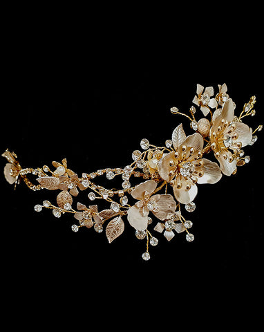 bridal headpiece - blush gold flower feature with diamonte band detail - Haley - Johnny B at Kezani