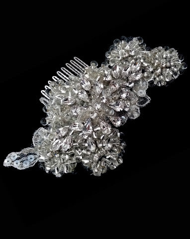 Bridal headpiece - vintage silver lace with crystals - Florence by Kezani - KEZANI JEWELLERY - designer bridal jewellery and wedding accessories