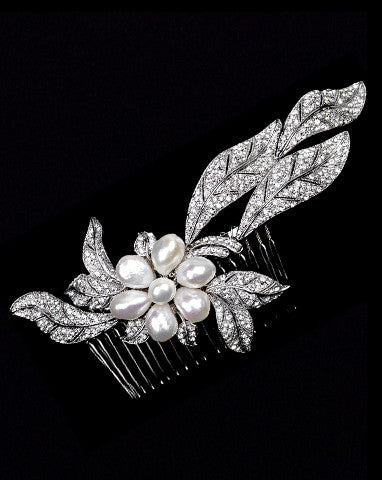 bridal headpiece- joie de vivre freshwater pearl flower and crystal leaf headpiece - by Stephanie Browne