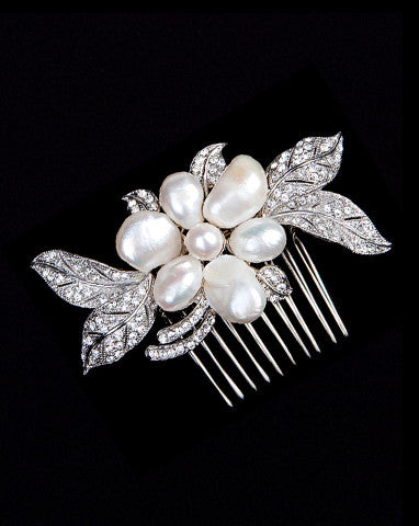 bridal headpiece- joie de vivre freshwater pearl and crystal comb - by Stephanie Browne